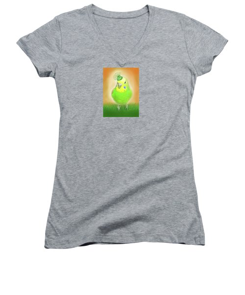 Women's V-Neck T-Shirt (Junior Cut) featuring the digital art Wearin' Of The Green by Jean Pacheco Ravinski