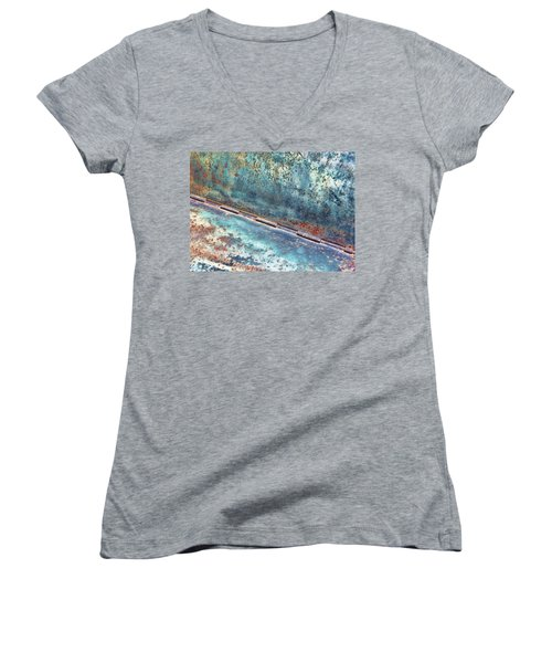 Women's V-Neck T-Shirt (Junior Cut) featuring the photograph Weathered by Kathy Bassett