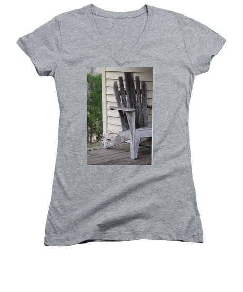 Women's V-Neck T-Shirt (Junior Cut) featuring the photograph Weathered Porch Chair by Debbie Karnes