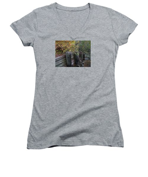 Weathered Wood In Autumn Women's V-Neck T-Shirt (Junior Cut) by Cedric Hampton