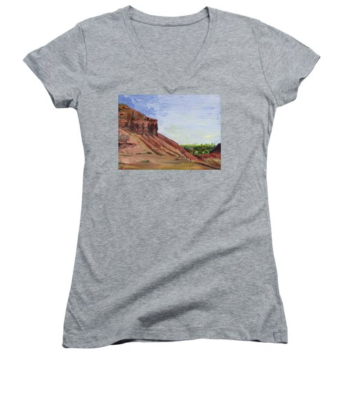 Women's V-Neck T-Shirt (Junior Cut) featuring the painting Weber Sandstone by Jane Autry