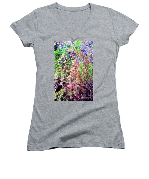 Weeping Cherry Women's V-Neck T-Shirt (Junior Cut) by Holly Martinson