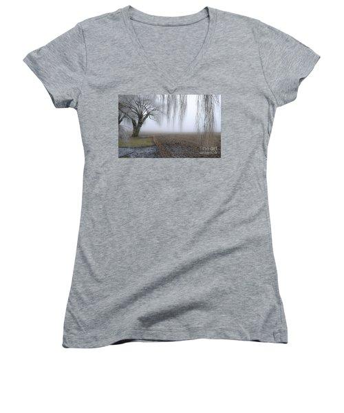 Weeping Frozen Willow Women's V-Neck T-Shirt (Junior Cut) by Amy Fearn