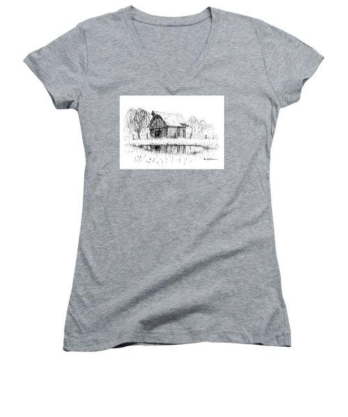 Weeping Willow And Barn Two Women's V-Neck