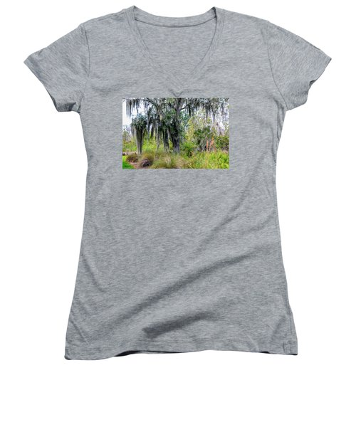 Women's V-Neck T-Shirt (Junior Cut) featuring the photograph Weeping Willow by Madeline Ellis