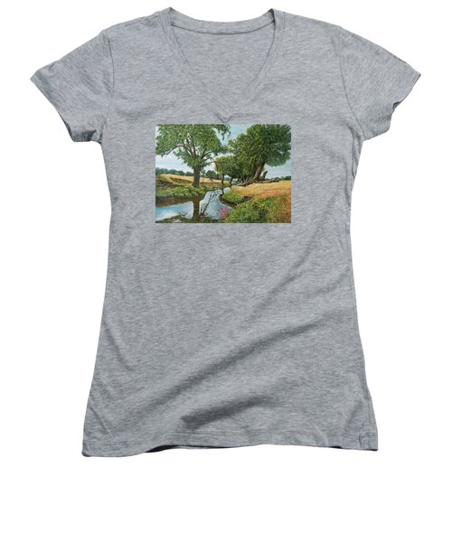 Weeping Willows At Beverley Brook Women's V-Neck T-Shirt