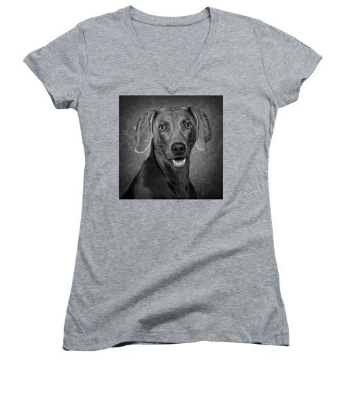 Women's V-Neck T-Shirt (Junior Cut) featuring the photograph Weimaraner In Black And White by Greg Mimbs