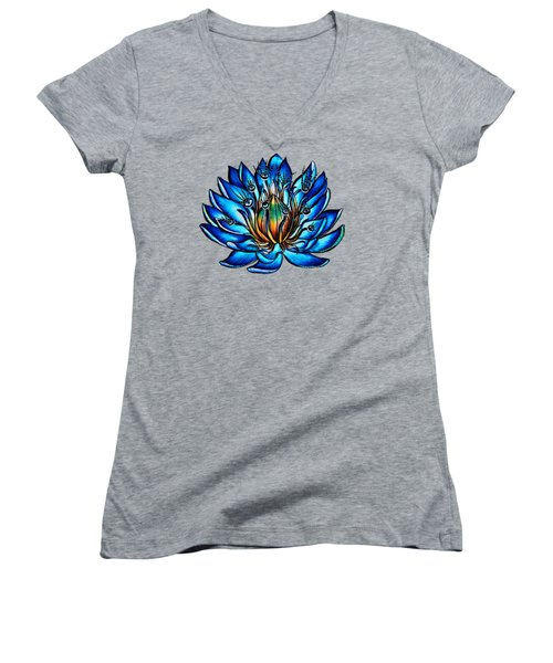 Weird Multi Eyed Blue Water Lily Flower Women's V-Neck (Athletic Fit)