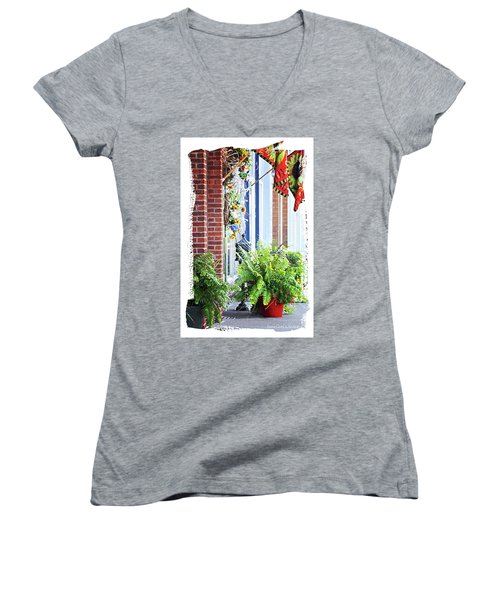Women's V-Neck T-Shirt (Junior Cut) featuring the photograph Welcome by Lena Wilhite
