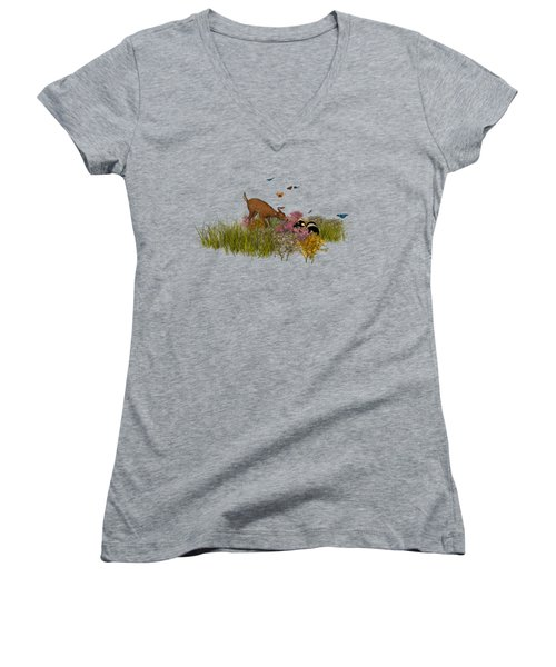 Women's V-Neck T-Shirt (Junior Cut) featuring the digital art Welcome Spring by Methune Hively