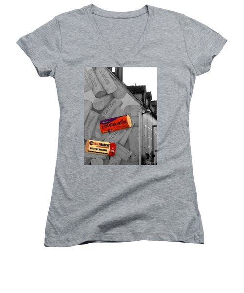 Women's V-Neck T-Shirt (Junior Cut) featuring the photograph Welcome To Bordeaux by Joan  Minchak