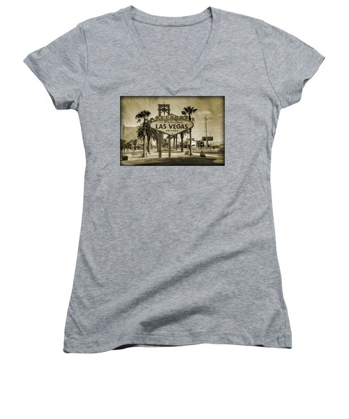 Welcome To Las Vegas Series Sepia Grunge Women's V-Neck T-Shirt