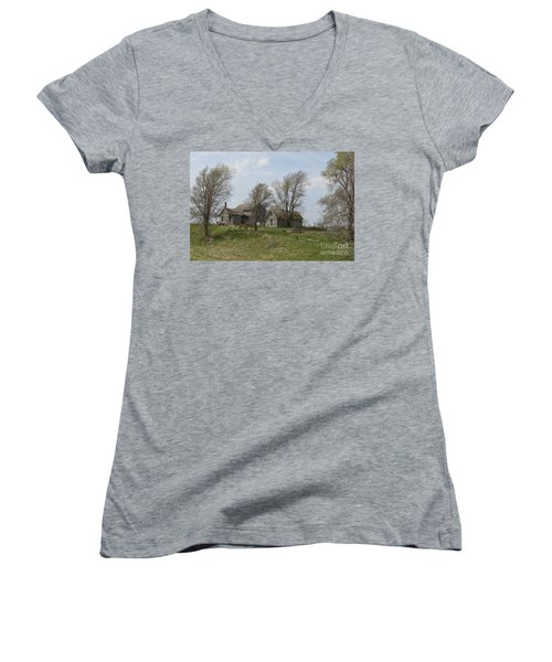 Welcome To The Farm Women's V-Neck T-Shirt (Junior Cut) by Renie Rutten