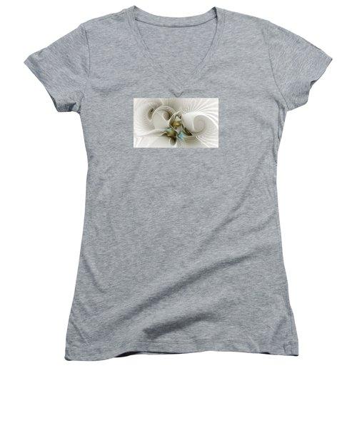 Welcome To The Second Floor-fractal Art Women's V-Neck T-Shirt (Junior Cut) by Karin Kuhlmann