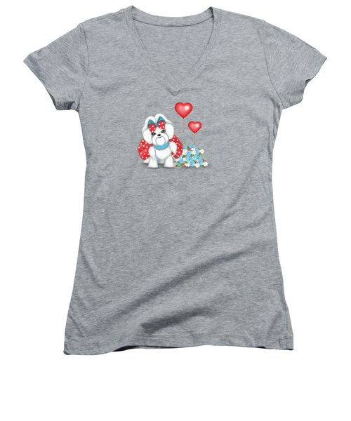 Welcome With Love  Women's V-Neck (Athletic Fit)