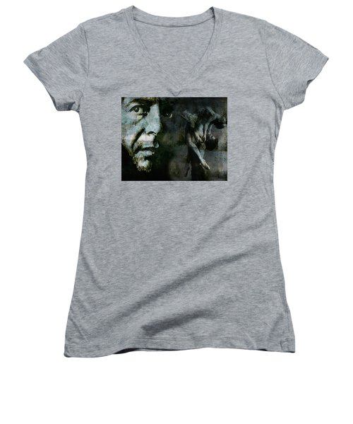 Women's V-Neck T-Shirt (Junior Cut) featuring the painting Well , I've Heard There Is A Secret Chord by Paul Lovering