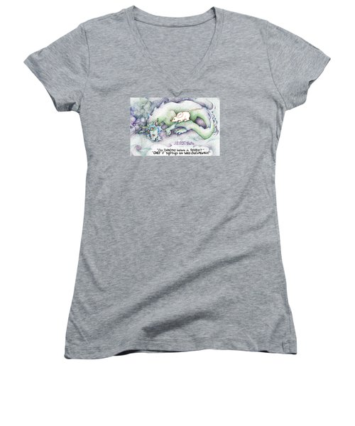 Well Documented Fpi Editorial Cartoon Women's V-Neck T-Shirt (Junior Cut) by Dawn Sperry