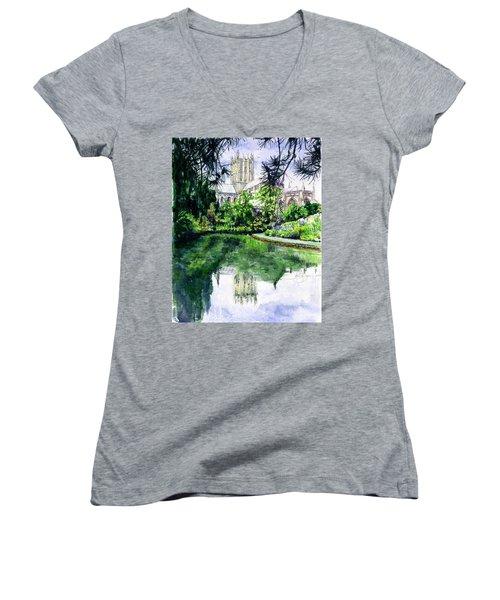 Wells Cathedral Women's V-Neck T-Shirt (Junior Cut)