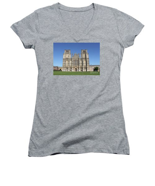 Wells Cathedral Women's V-Neck T-Shirt (Junior Cut) by Linda Prewer