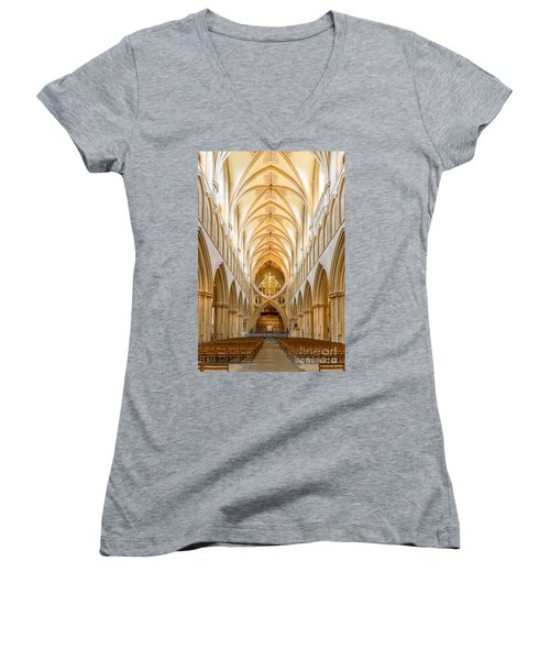 Women's V-Neck T-Shirt (Junior Cut) featuring the photograph Wells Cathedral Nave by Colin Rayner