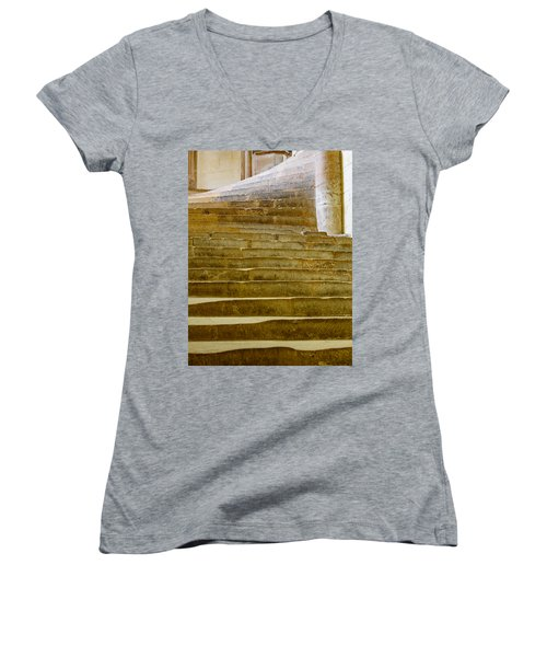 Wells Cathedral Steps Women's V-Neck T-Shirt (Junior Cut) by Colin Rayner