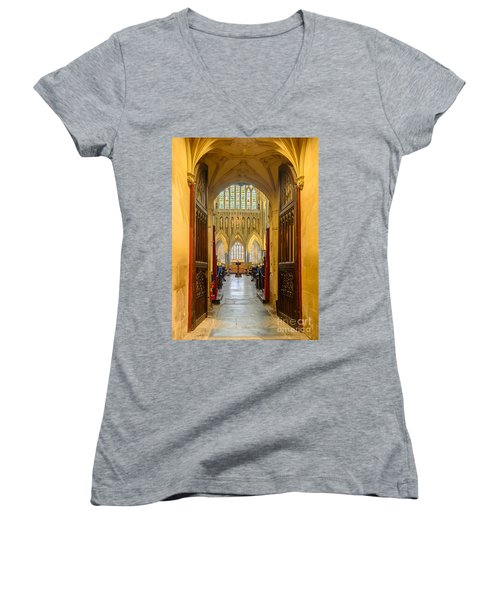 Wellscathedral, The Quire Women's V-Neck T-Shirt (Junior Cut) by Colin Rayner