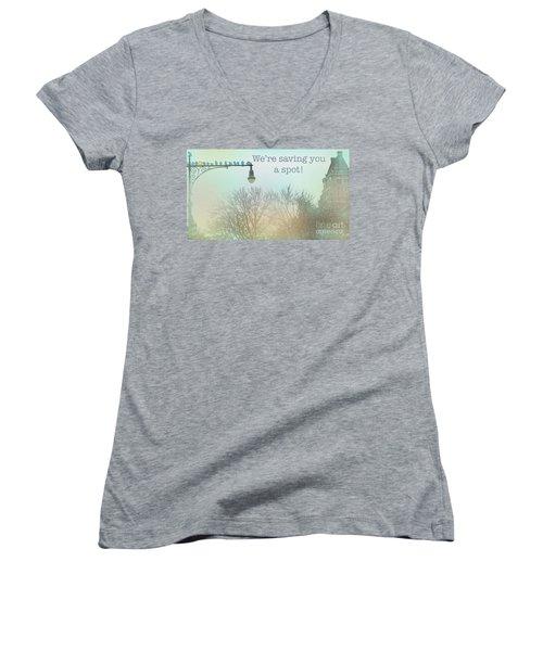 Women's V-Neck T-Shirt (Junior Cut) featuring the photograph We're Saving You A Spot by Sandy Moulder