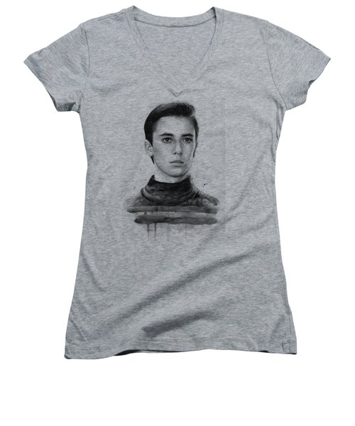 Wesley Crusher Star Trek Fan Art Women's V-Neck T-Shirt (Junior Cut) by Olga Shvartsur