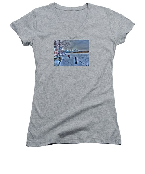 West From Navy Pier Women's V-Neck T-Shirt (Junior Cut) by David Bearden