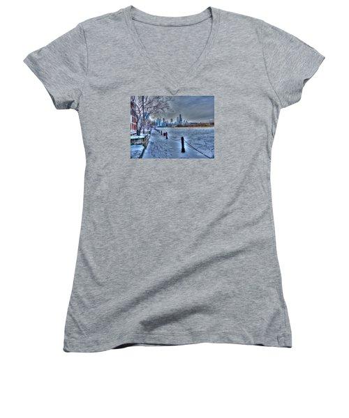 West From Navy Pier Women's V-Neck T-Shirt