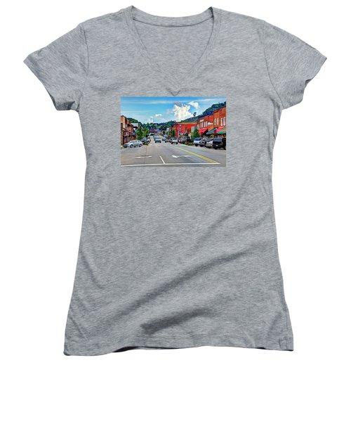 West Jefferson Streetscape Women's V-Neck T-Shirt (Junior Cut) by Dale R Carlson