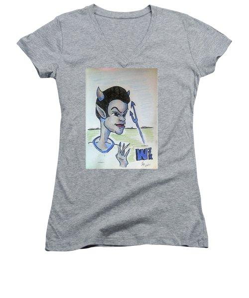 West Jr Women's V-Neck T-Shirt (Junior Cut) by Loretta Nash