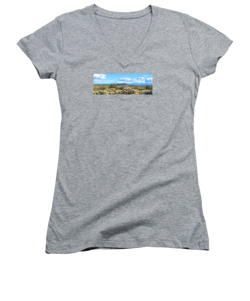 Women's V-Neck T-Shirt (Junior Cut) featuring the photograph West Of Taos by Brenda Pressnall