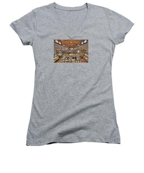 Women's V-Neck T-Shirt (Junior Cut) featuring the photograph West Side Market by Brent Durken