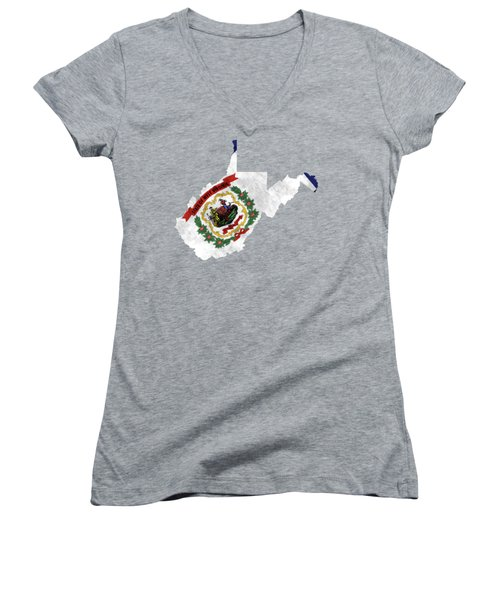 West Virginia Map Art With Flag Design Women's V-Neck (Athletic Fit)