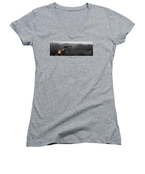 Westbound Grain Women's V-Neck T-Shirt (Junior Cut) by Brad Allen Fine Art