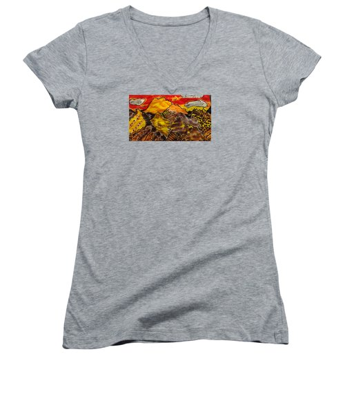 Women's V-Neck T-Shirt (Junior Cut) featuring the painting Western Hills 4 by Don Koester