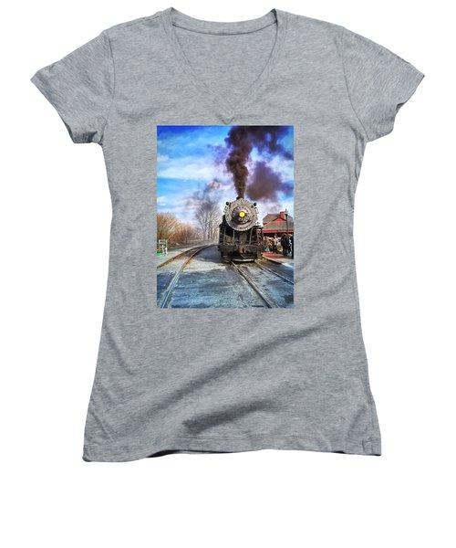 Western Maryland Steam Engine Women's V-Neck T-Shirt