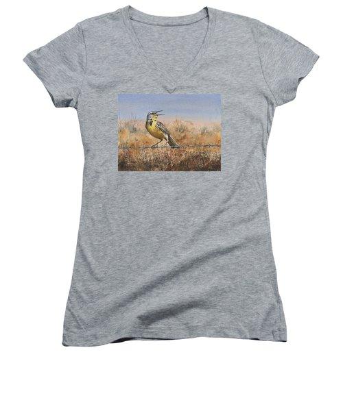 Western Meadowlark Women's V-Neck