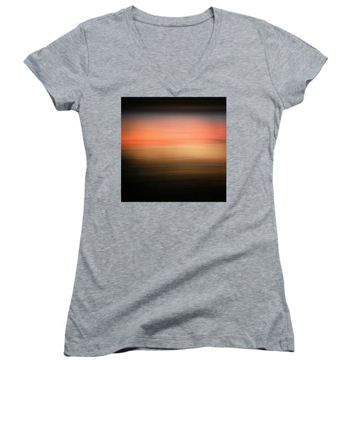Women's V-Neck T-Shirt (Junior Cut) featuring the photograph Western Sun by Marilyn Hunt