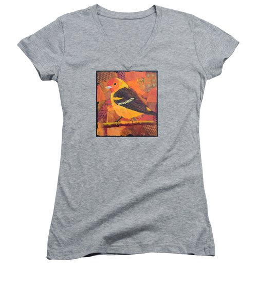 Western Tanager Women's V-Neck T-Shirt (Junior Cut) by Nancy Jolley