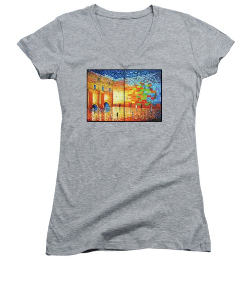 Women's V-Neck featuring the painting Western Wall Jerusalem Wailing Wall Acrylic Painting 2 Panels by Georgeta Blanaru