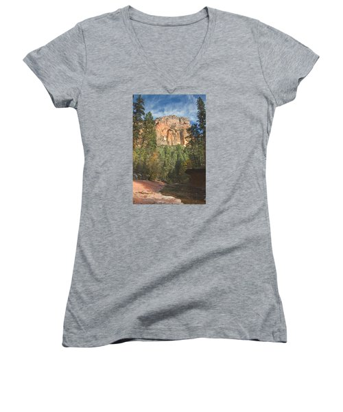 Women's V-Neck T-Shirt (Junior Cut) featuring the photograph Westfork Trail by Tom Kelly