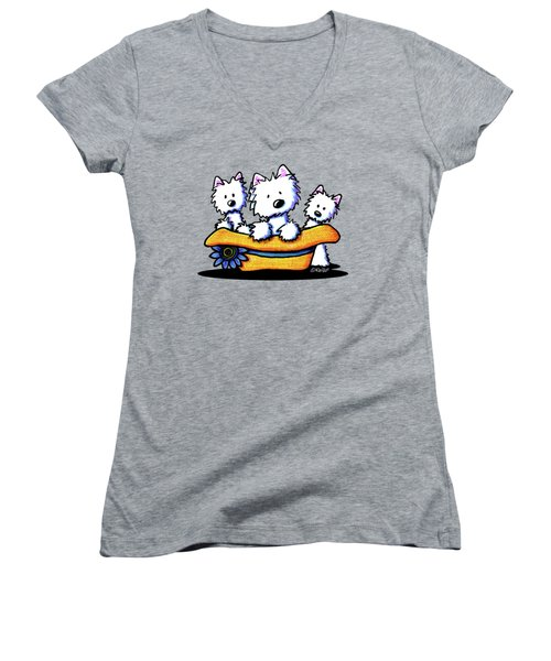 Westie Hat Trio Women's V-Neck T-Shirt