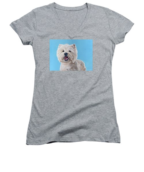 Westie Women's V-Neck (Athletic Fit)