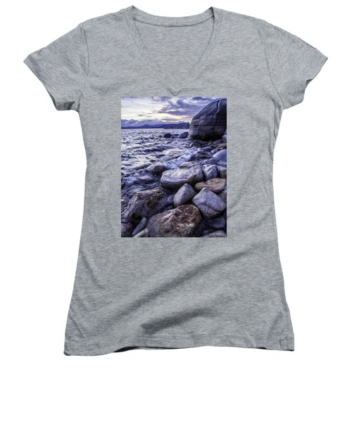 Wet Rocks At Sunset Women's V-Neck