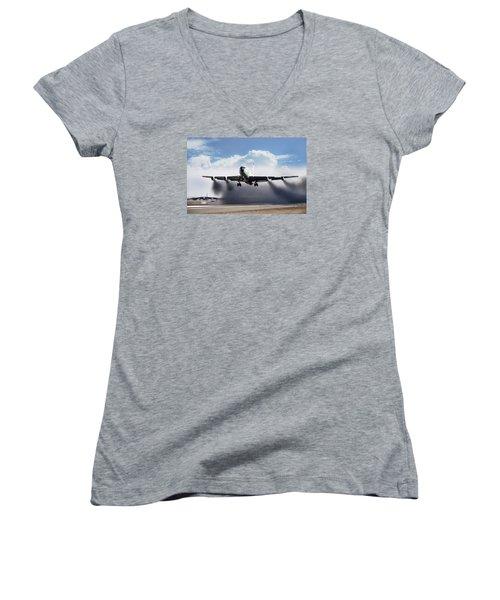 Wet Takeoff Kc-135 Women's V-Neck T-Shirt (Junior Cut) by Peter Chilelli