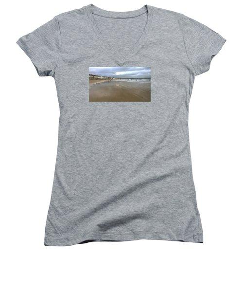 Weymouth Morning Women's V-Neck T-Shirt (Junior Cut) by Anne Kotan