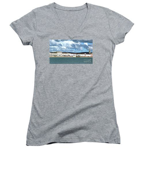 Weymouth Seafront Women's V-Neck T-Shirt (Junior Cut) by Stephen Melia