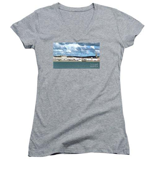 Weymouth Seafront Women's V-Neck T-Shirt (Junior Cut) by Baggieoldboy
